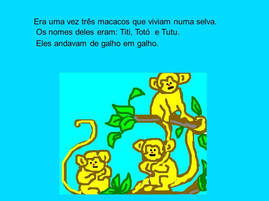 Era uma vez três macacos que viviam numa selva. Os nomes deles eram: Titi, Totó e Tutu. Eles andavam de galho em galho.