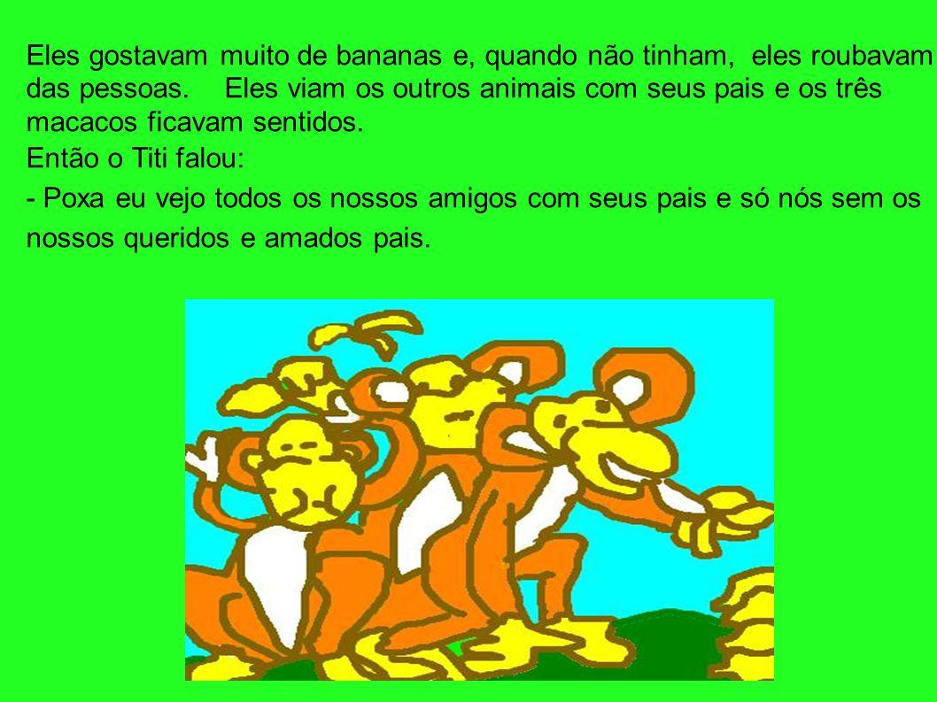 Eles gostavam muito de bananas e, quando não tinham, eles roubavam das pessoas. Eles viam os outros animais com seus pais e os três macacos ficavam se