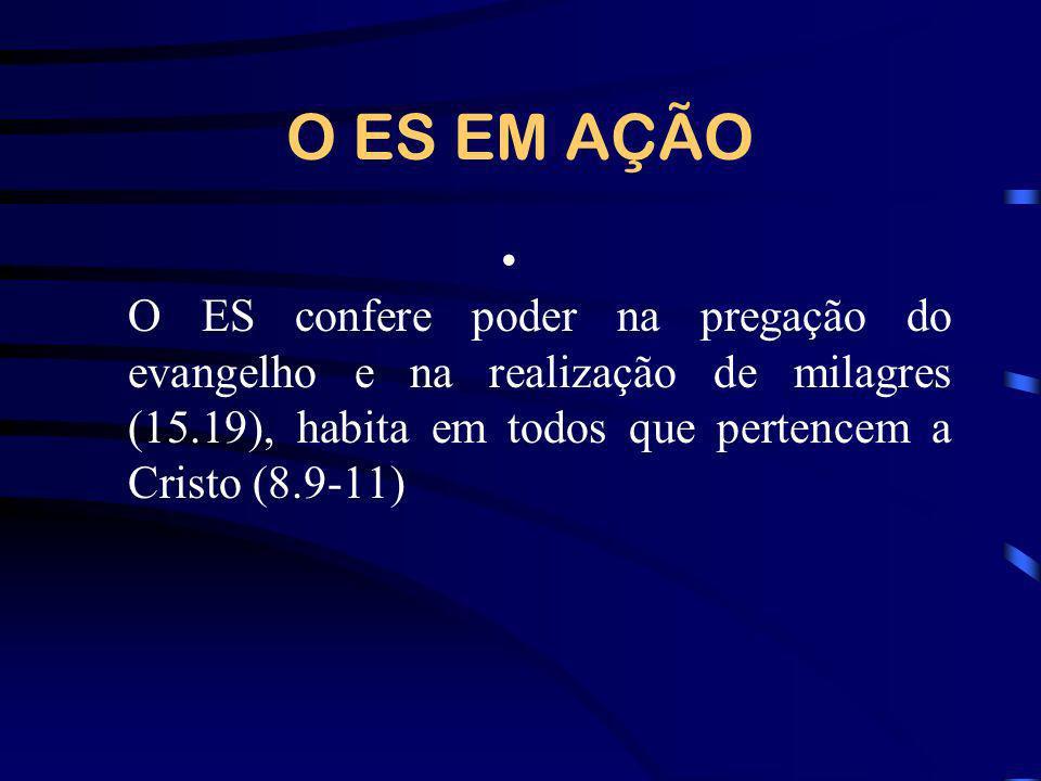 O ES EM AÇÃO O ES confere poder na pregação do evangelho e na realização de milagres (15.19), habita em todos que pertencem a Cristo (8.9-11)