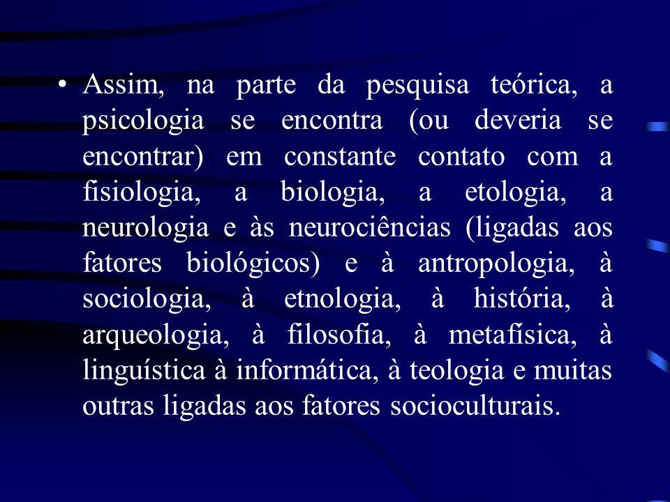 Assim, na parte da pesquisa teórica, a psicologia se encontra (ou deveria se encontrar) em constante contato com a fisiologia, a biologia, a etologia, a neurologia e às neurociências (ligadas aos fatores biológicos) e à antropologia, à sociologia, à etnologia, à história, à arqueologia, à filosofia, à metafísica, à linguística à informática, à teologia e muitas outras ligadas aos fatores socioculturais.