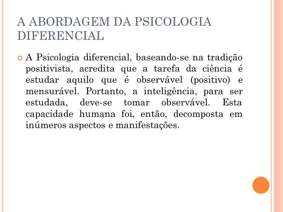 A ABORDAGEM DA PSICOLOGIA DIFERENCIAL A Psicologia diferencial, baseando-se na tradição positivista, acredita que a tarefa da ciência é estudar aquilo