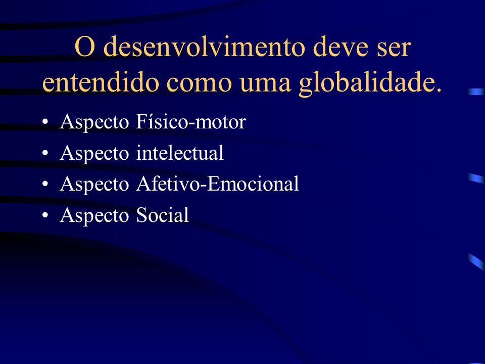 O desenvolvimento deve ser entendido como uma globalidade. Aspecto Físico-motor Aspecto intelectual Aspecto Afetivo-Emocional Aspecto Social