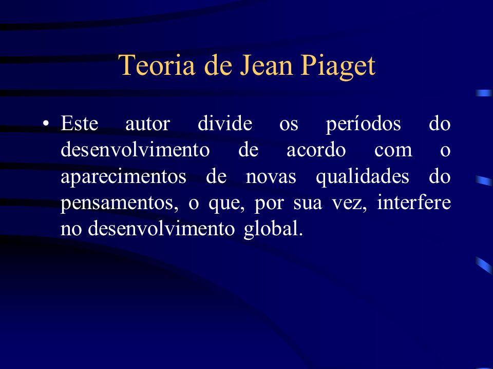 Teoria de Jean Piaget Este autor divide os períodos do desenvolvimento de acordo com o aparecimentos de novas qualidades do pensamentos, o que, por su