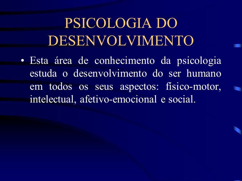 PSICOLOGIA DO DESENVOLVIMENTO Esta área de conhecimento da psicologia estuda o desenvolvimento do ser humano em todos os seus aspectos: físico-motor,