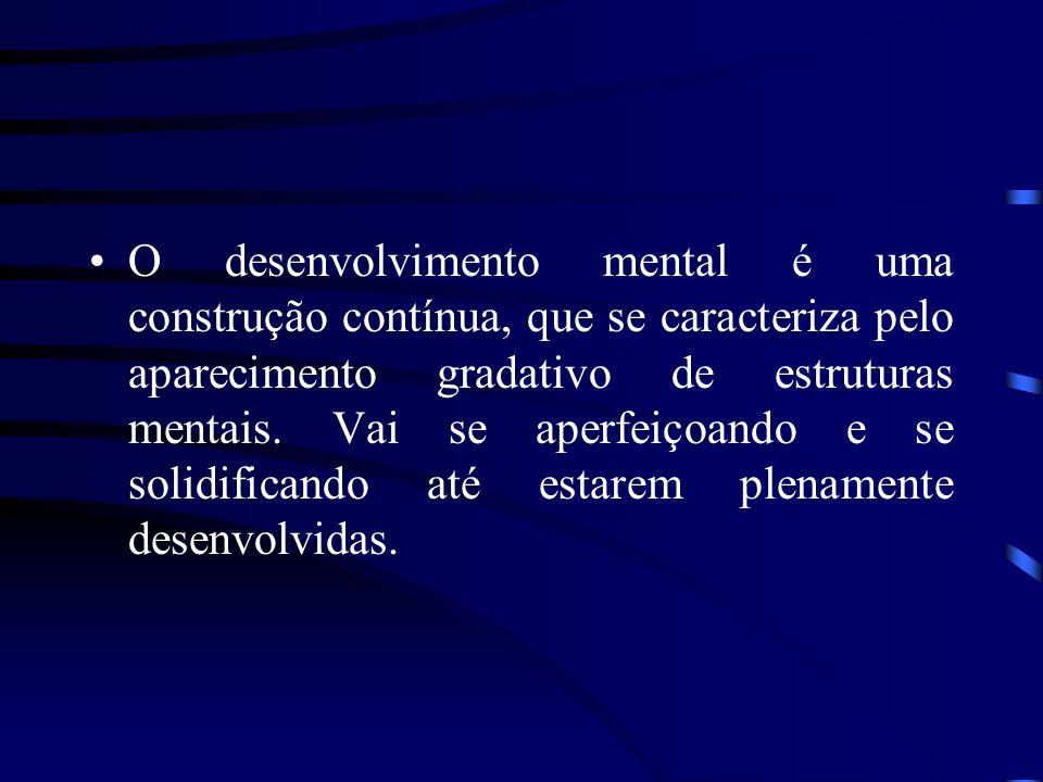 O desenvolvimento mental é uma construção contínua, que se caracteriza pelo aparecimento gradativo de estruturas mentais. Vai se aperfeiçoando e se so