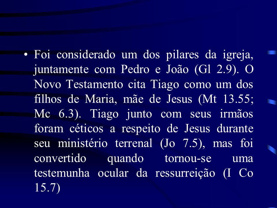 Foi considerado um dos pilares da igreja, juntamente com Pedro e João (Gl 2.9). O Novo Testamento cita Tiago como um dos filhos de Maria, mãe de Jesus