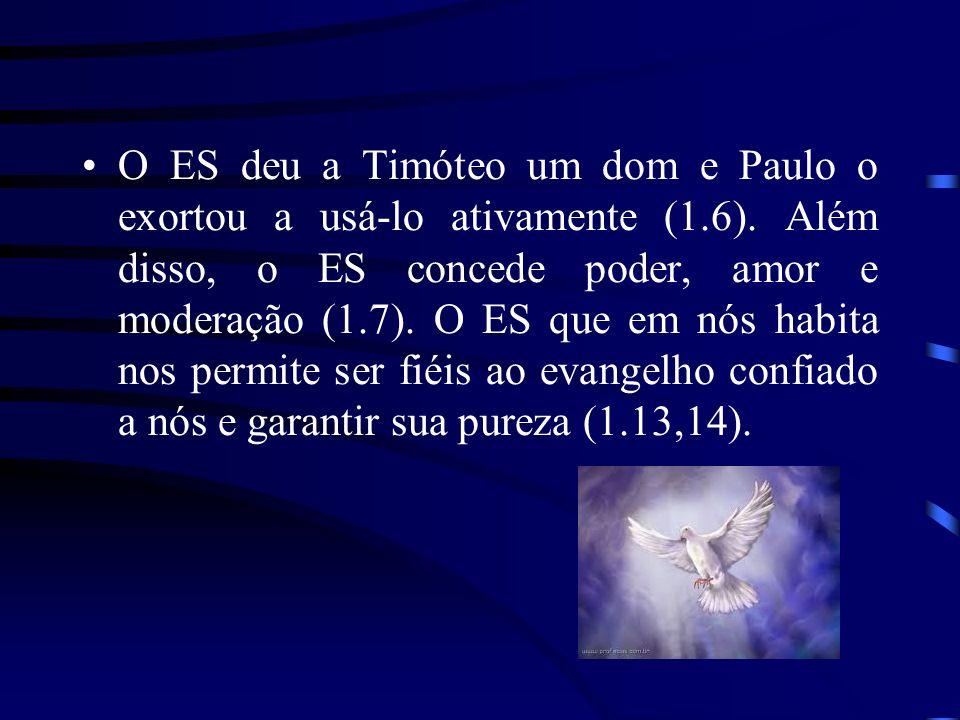 O ES deu a Timóteo um dom e Paulo o exortou a usá-lo ativamente (1.6). Além disso, o ES concede poder, amor e moderação (1.7). O ES que em nós habita
