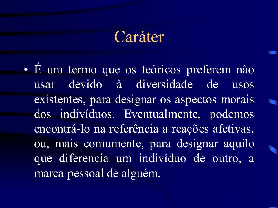 Caráter É um termo que os teóricos preferem não usar devido à diversidade de usos existentes, para designar os aspectos morais dos indivíduos. Eventua