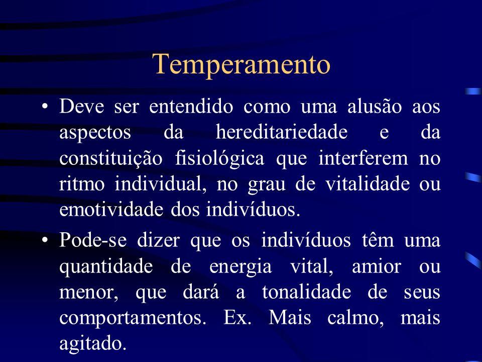 Temperamento Deve ser entendido como uma alusão aos aspectos da hereditariedade e da constituição fisiológica que interferem no ritmo individual, no g