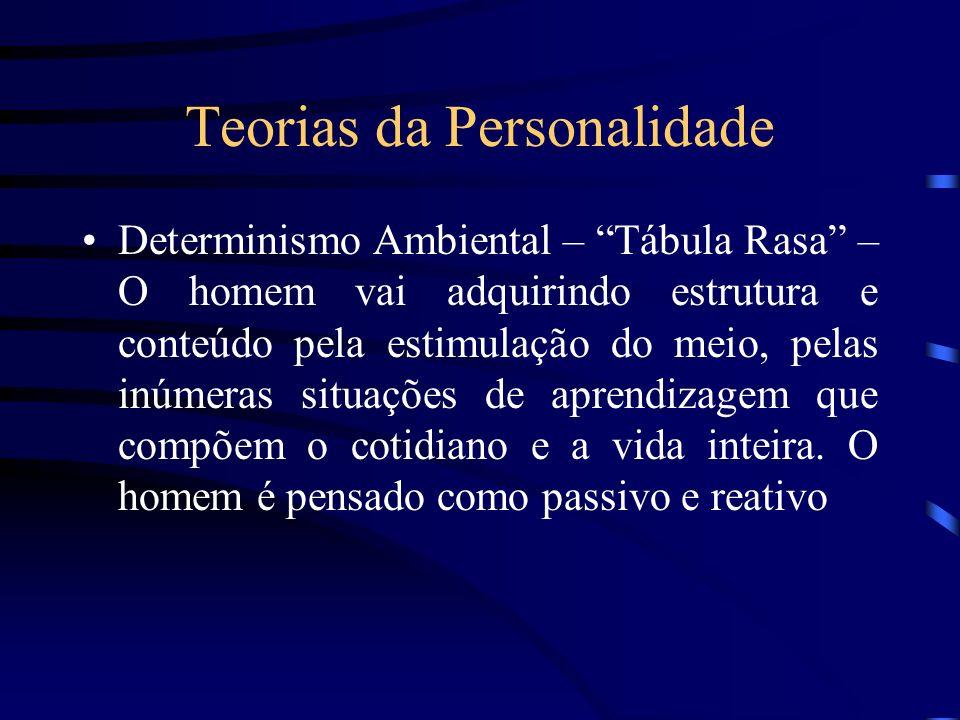 Teorias da Personalidade Determinismo Ambiental – Tábula Rasa – O homem vai adquirindo estrutura e conteúdo pela estimulação do meio, pelas inúmeras s