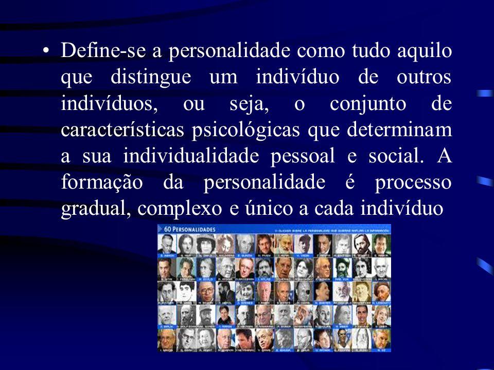 Define-se a personalidade como tudo aquilo que distingue um indivíduo de outros indivíduos, ou seja, o conjunto de características psicológicas que de