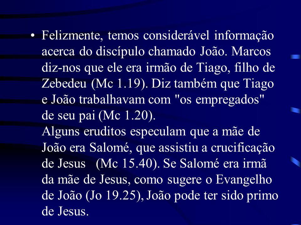 Felizmente, temos considerável informação acerca do discípulo chamado João. Marcos diz-nos que ele era irmão de Tiago, filho de Zebedeu (Mc 1.19). Diz