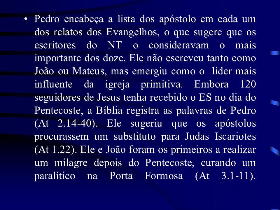 Pedro encabeça a lista dos apóstolo em cada um dos relatos dos Evangelhos, o que sugere que os escritores do NT o consideravam o mais importante dos d