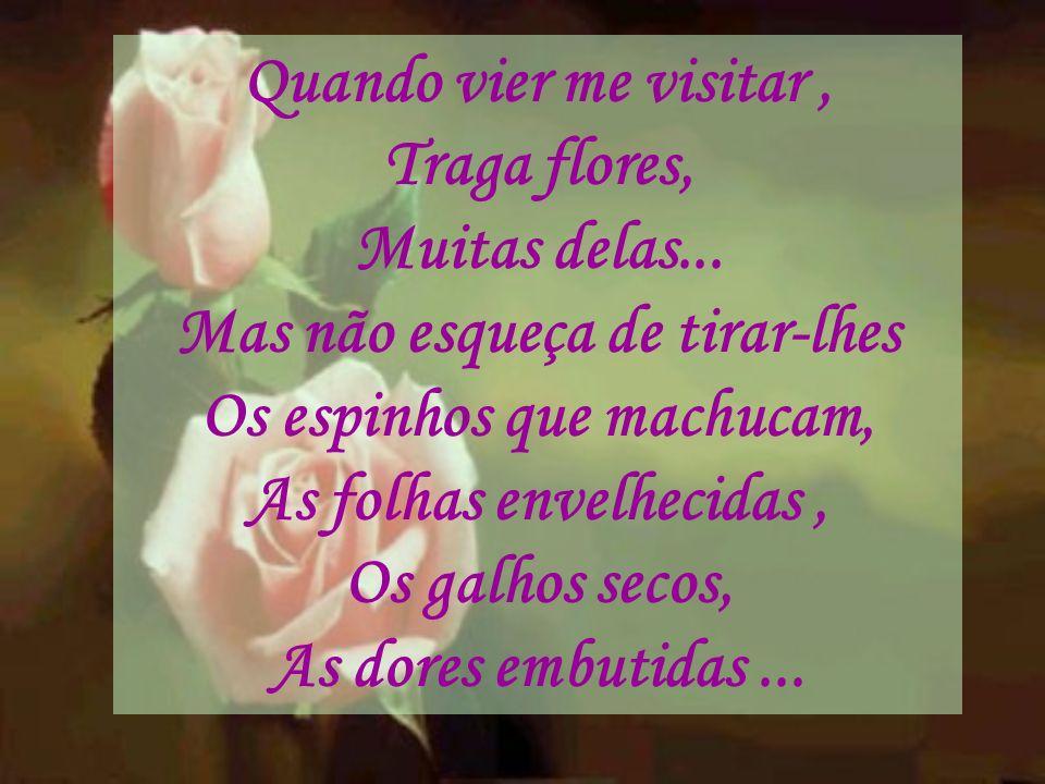Quando vier me visitar, Traga flores, Muitas delas... Mas não esqueça de tirar-lhes Os espinhos que machucam, As folhas envelhecidas, Os galhos secos,