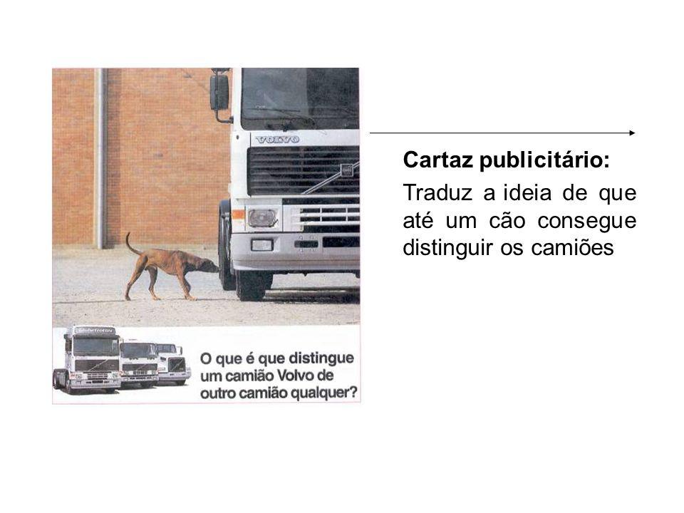 Cartaz publicitário: Traduz a ideia de que até um cão consegue distinguir os camiões