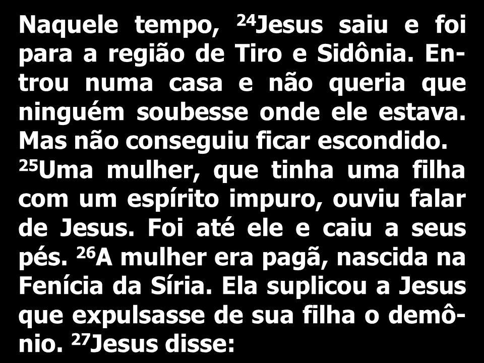 Naquele tempo, 24 Jesus saiu e foi para a região de Tiro e Sidônia. En- trou numa casa e não queria que ninguém soubesse onde ele estava. Mas não cons