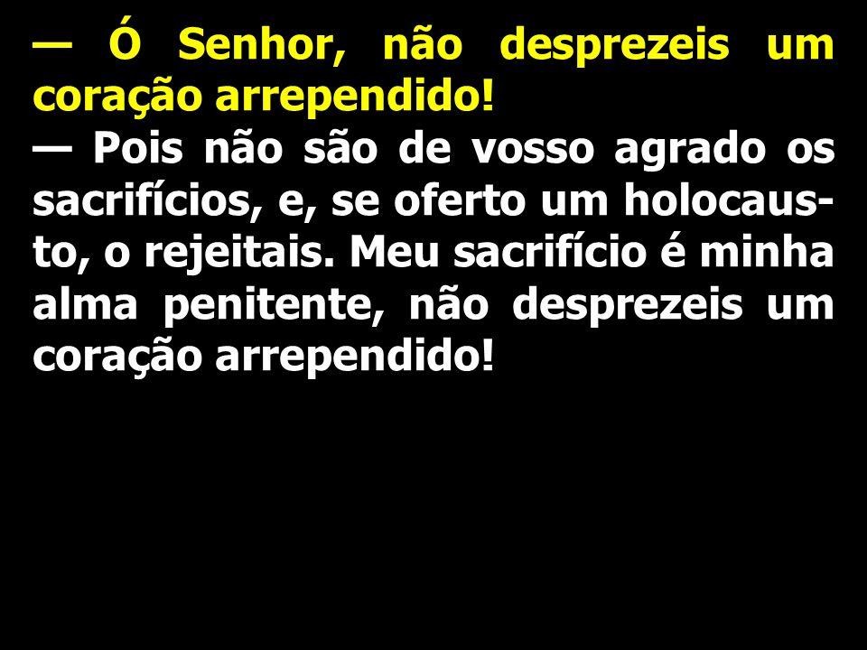 Ó Senhor, não desprezeis um coração arrependido! Pois não são de vosso agrado os sacrifícios, e, se oferto um holocaus- to, o rejeitais. Meu sacrifíci