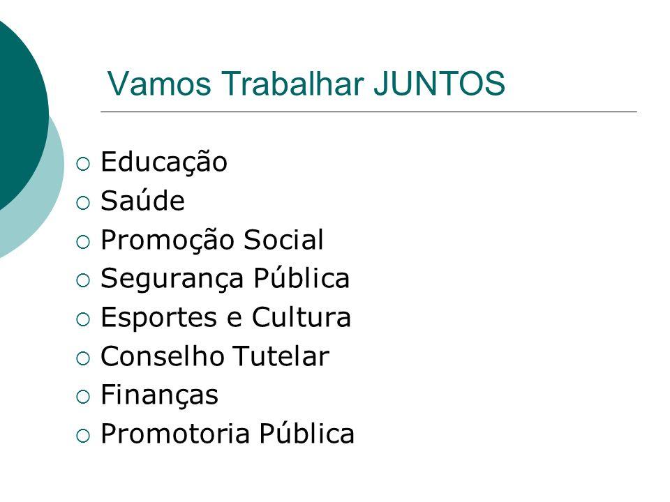 Vamos Trabalhar JUNTOS Educação Saúde Promoção Social Segurança Pública Esportes e Cultura Conselho Tutelar Finanças Promotoria Pública