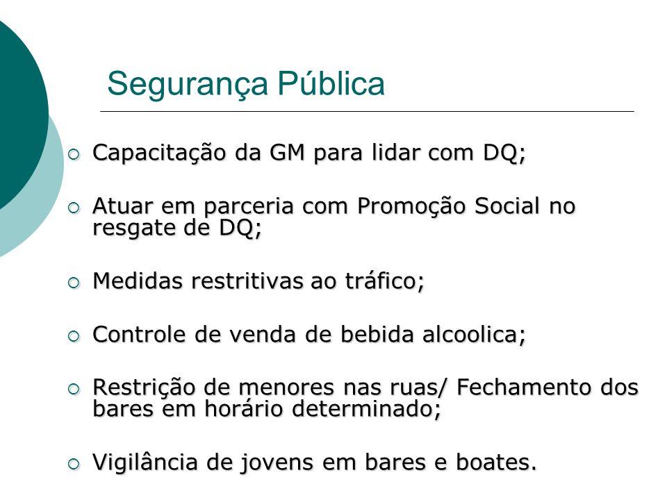 Segurança Pública Capacitação da GM para lidar com DQ; Capacitação da GM para lidar com DQ; Atuar em parceria com Promoção Social no resgate de DQ; At