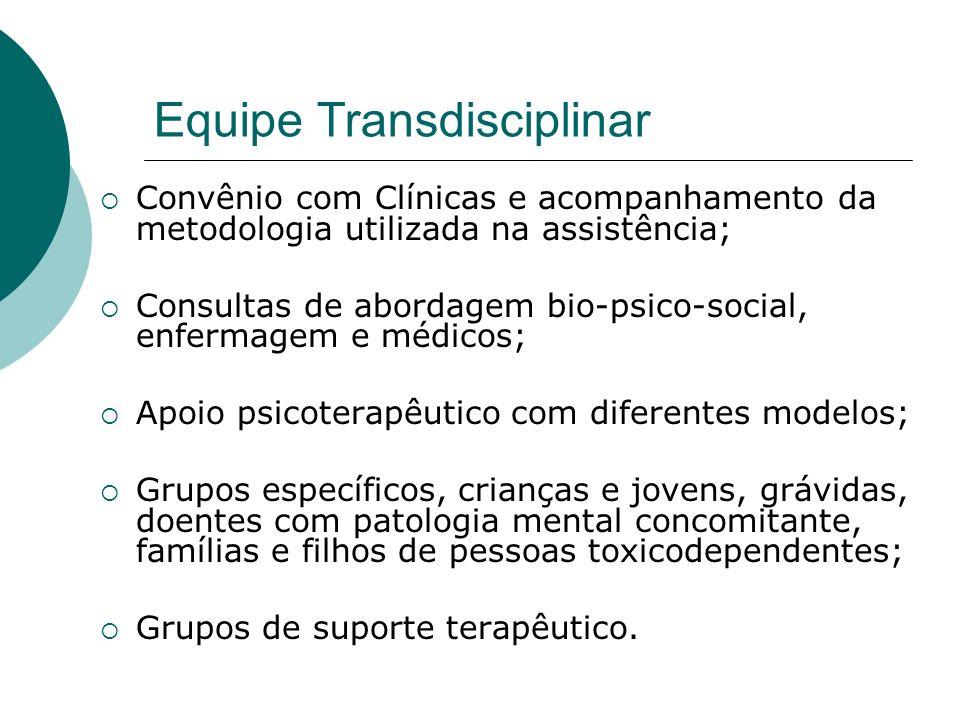 Equipe Transdisciplinar Convênio com Clínicas e acompanhamento da metodologia utilizada na assistência; Consultas de abordagem bio-psico-social, enfer