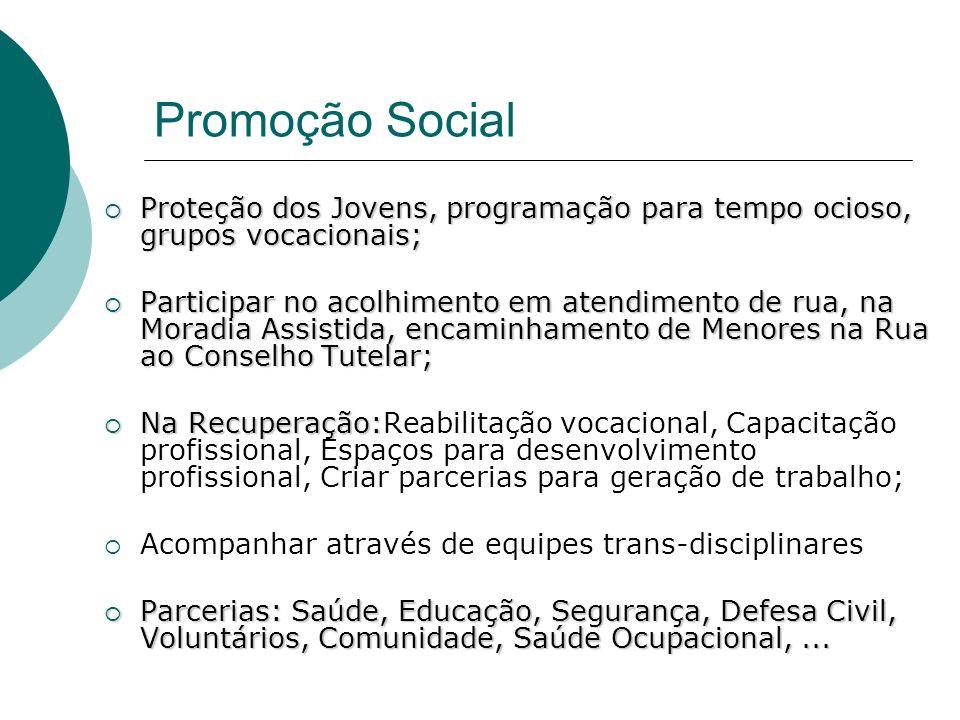 Promoção Social Proteção dos Jovens, programação para tempo ocioso, grupos vocacionais; Proteção dos Jovens, programação para tempo ocioso, grupos voc