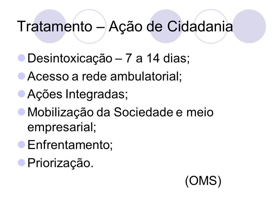 Tratamento – Ação de Cidadania Desintoxicação – 7 a 14 dias; Acesso a rede ambulatorial; Ações Integradas; Mobilização da Sociedade e meio empresarial; Enfrentamento; Priorização.