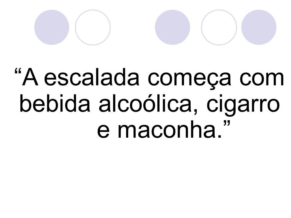 A escalada começa com bebida alcoólica, cigarro e maconha.