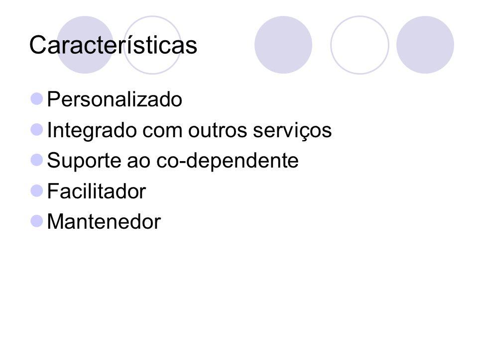 Características Personalizado Integrado com outros serviços Suporte ao co-dependente Facilitador Mantenedor