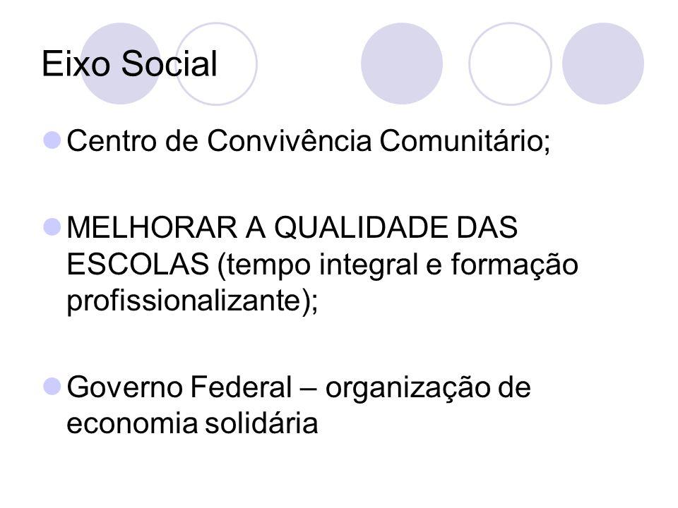 Eixo Social Centro de Convivência Comunitário; MELHORAR A QUALIDADE DAS ESCOLAS (tempo integral e formação profissionalizante); Governo Federal – organização de economia solidária