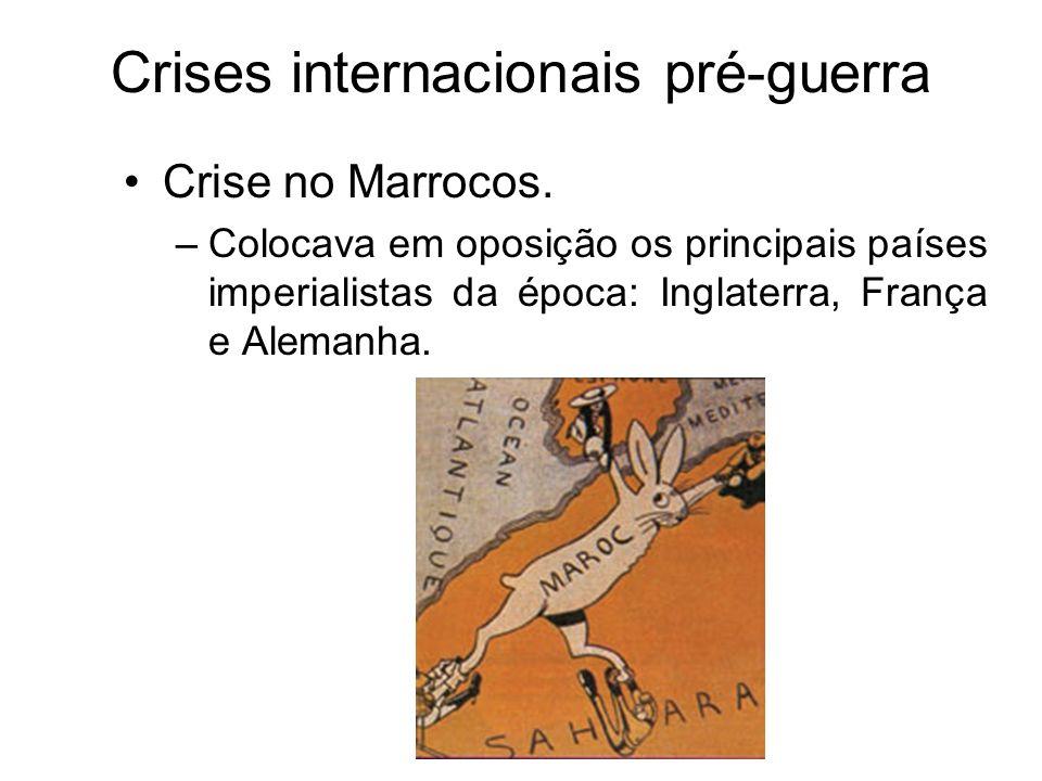 Crises internacionais pré-guerra Crise no Marrocos. –Colocava em oposição os principais países imperialistas da época: Inglaterra, França e Alemanha.