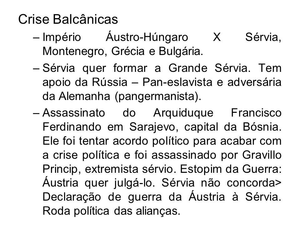 Crise Balcânicas –Império Áustro-Húngaro X Sérvia, Montenegro, Grécia e Bulgária. –Sérvia quer formar a Grande Sérvia. Tem apoio da Rússia – Pan-eslav
