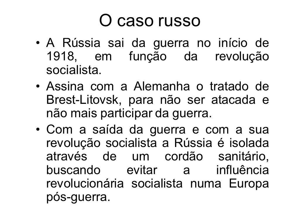 O caso russo A Rússia sai da guerra no início de 1918, em função da revolução socialista. Assina com a Alemanha o tratado de Brest-Litovsk, para não s