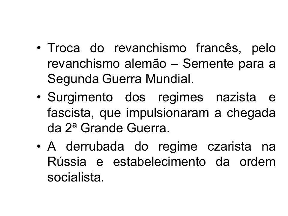 Troca do revanchismo francês, pelo revanchismo alemão – Semente para a Segunda Guerra Mundial. Surgimento dos regimes nazista e fascista, que impulsio