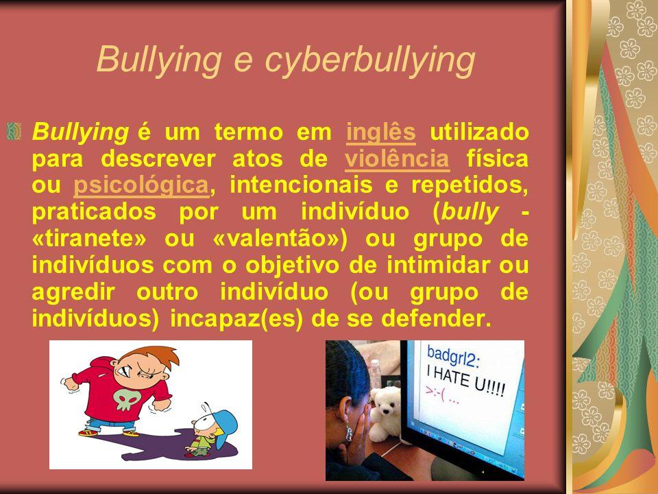 Bullying e cyberbullying Bullying é um termo em inglês utilizado para descrever atos de violência física ou psicológica, intencionais e repetidos, pra