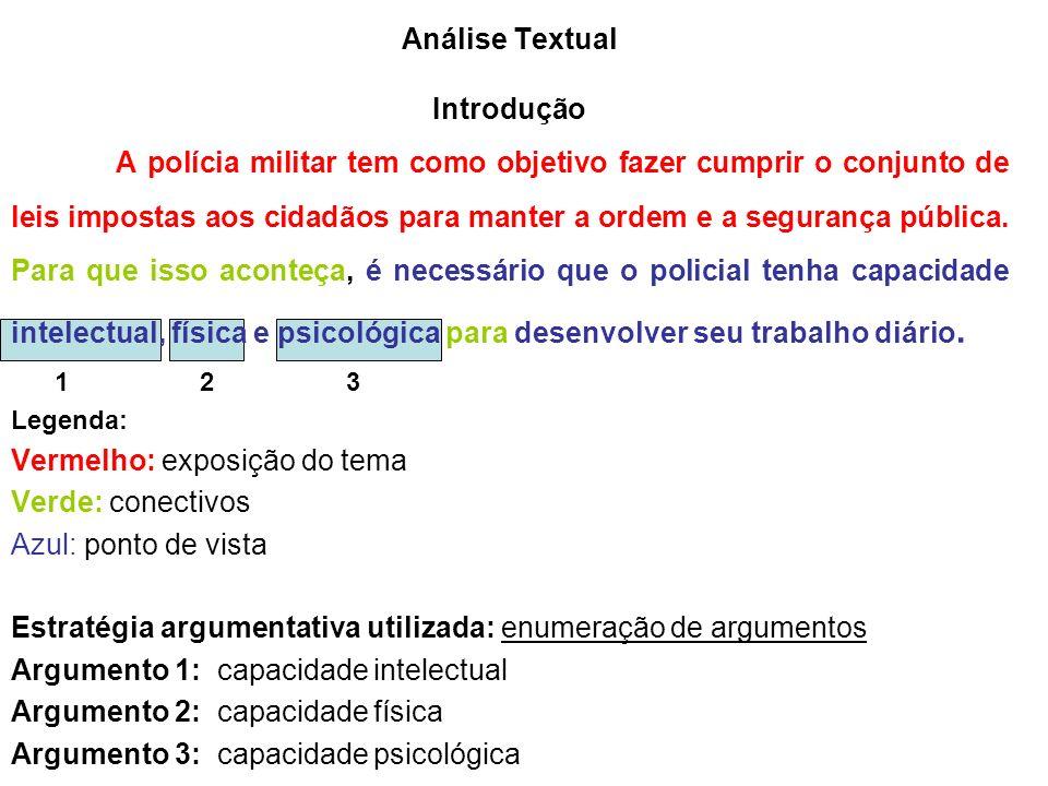 Análise Textual Introdução A polícia militar tem como objetivo fazer cumprir o conjunto de leis impostas aos cidadãos para manter a ordem e a segurança pública.
