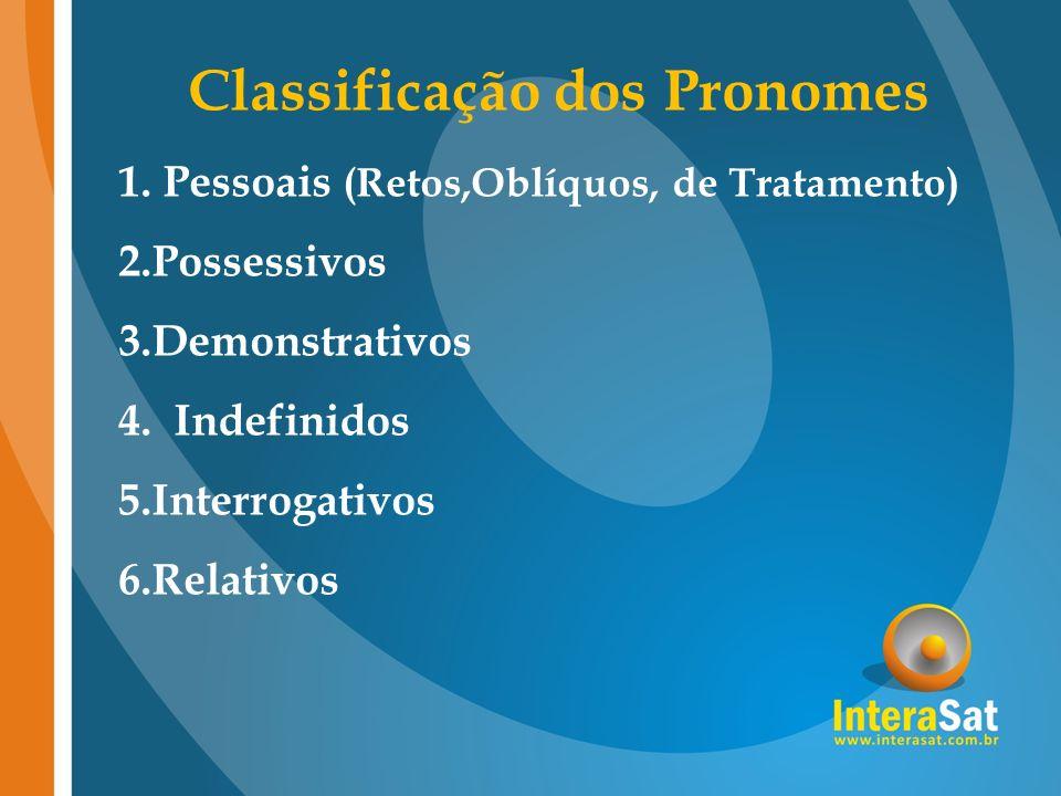 Classificação dos Pronomes 1. Pessoais (Retos,Oblíquos, de Tratamento) 2.Possessivos 3.Demonstrativos 4. Indefinidos 5.Interrogativos 6.Relativos