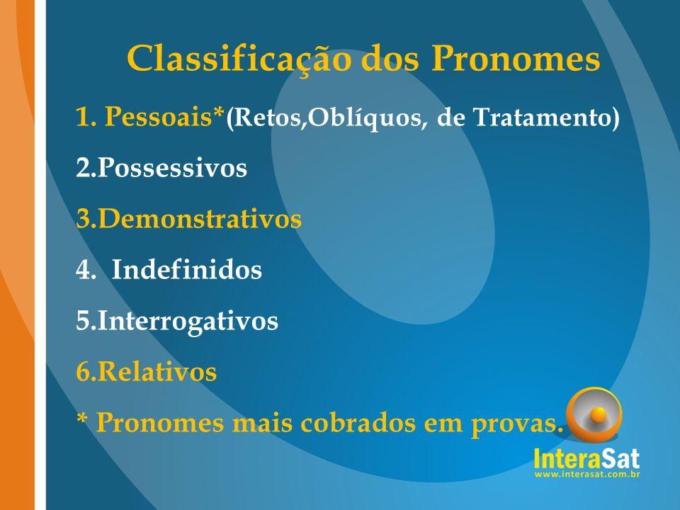 Classificação dos Pronomes 1. Pessoais* (Retos,Oblíquos, de Tratamento) 2.Possessivos 3.Demonstrativos 4. Indefinidos 5.Interrogativos 6.Relativos * P