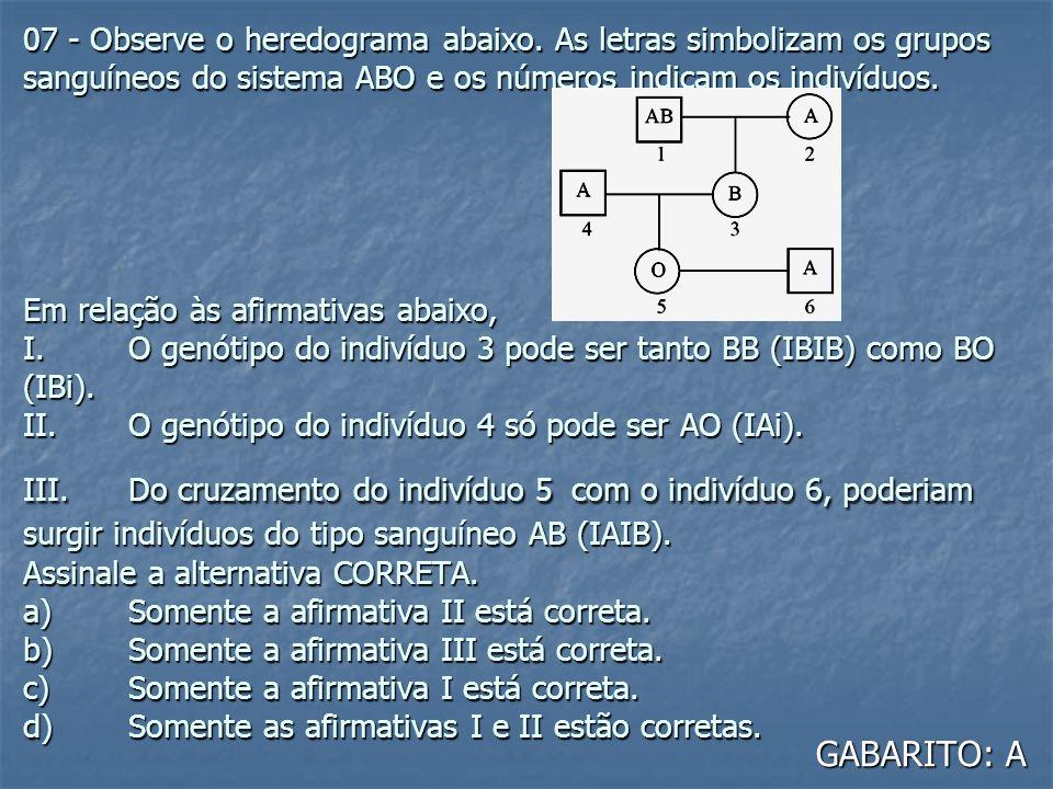 07 - Observe o heredograma abaixo. As letras simbolizam os grupos sanguíneos do sistema ABO e os números indicam os indivíduos. Em relação às afirmati
