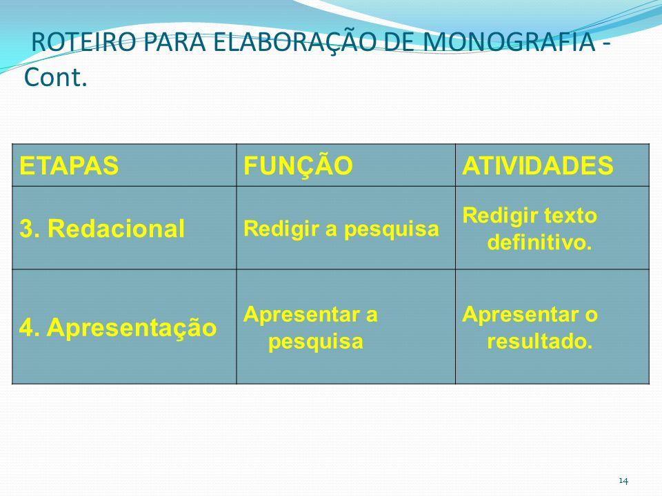 ROTEIRO PARA ELABORAÇÃO DE MONOGRAFIA – Cont.ETAPASFUNÇÃOATIVIDADES 2.Operacional ização Executar a pesquisa Selecionar a bibliografia. Selecionar a b