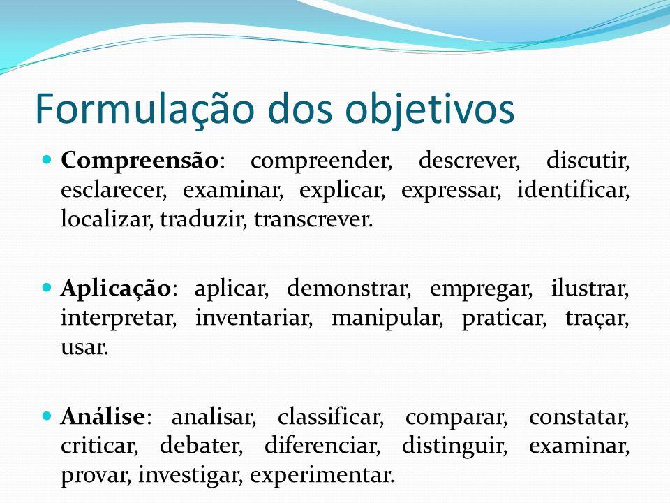 Formulação dos objetivos Os enunciados dos objetivos devem começar com um verbo no infinitivo e este verbo deve indicar uma ação passível de mensuraçã