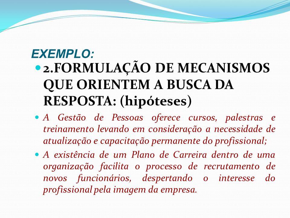 EXEMPLO: 2.FORMULAÇÃO DE MECANISMOS QUE ORIENTEM A BUSCA DA RESPOSTA: (hipóteses) As empresas no ramo de informática podem exercer um papel importante
