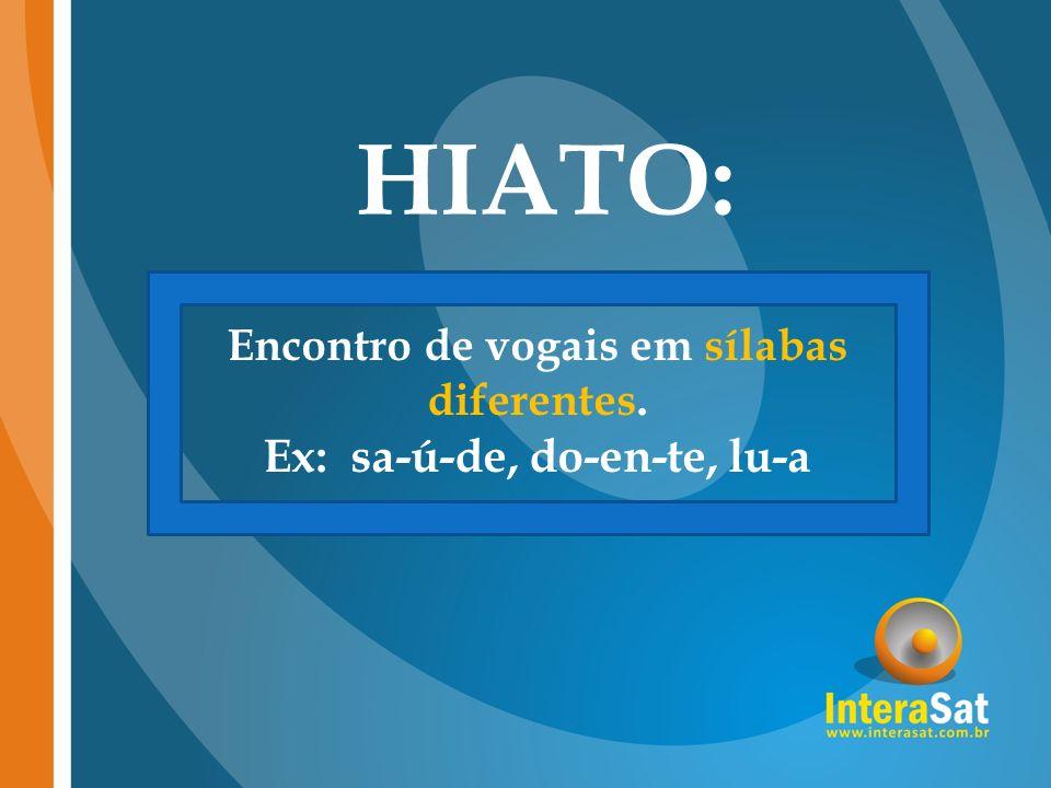 HIATO: Encontro de vogais em sílabas diferentes. Ex: sa-ú-de, do-en-te, lu-a
