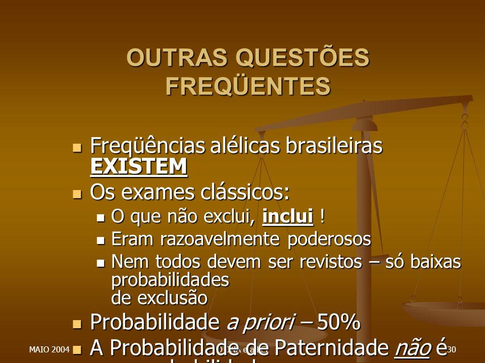 MAIO 2004O DNA e a LEI30 OUTRAS QUESTÕES FREQÜENTES Freqüências alélicas brasileiras EXISTEM Freqüências alélicas brasileiras EXISTEM Os exames clássi