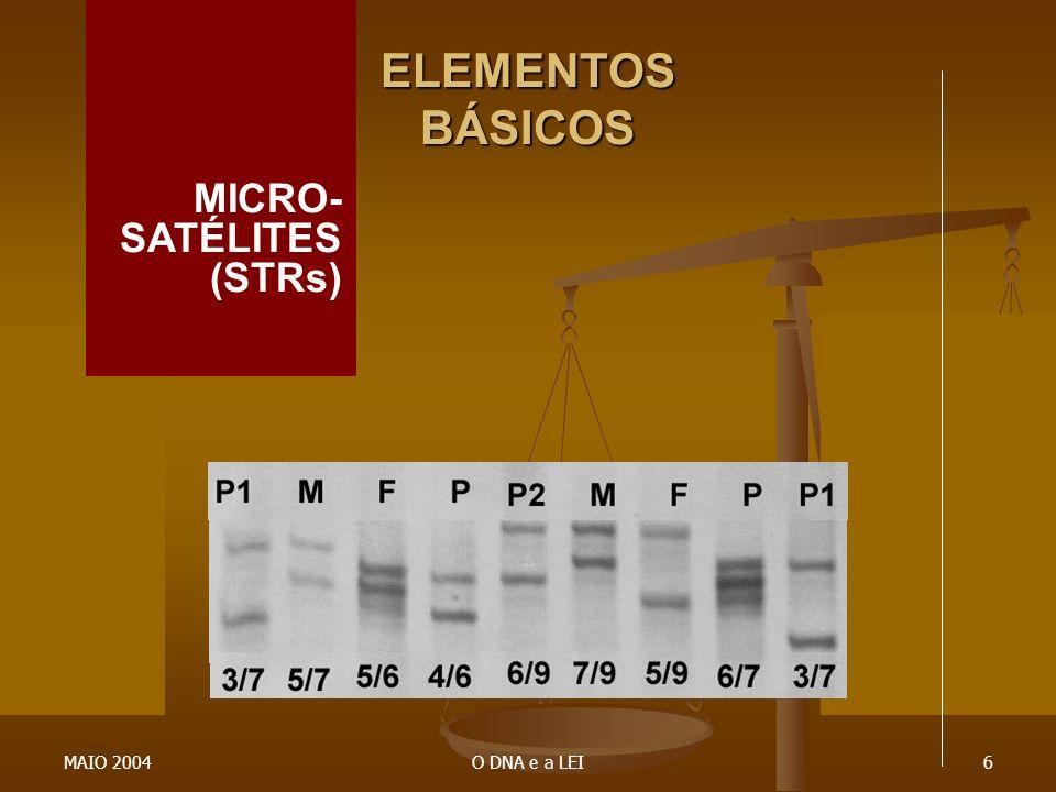 MAIO 2004O DNA e a LEI6 ELEMENTOS BÁSICOS MICRO- SATÉLITES (STRs)