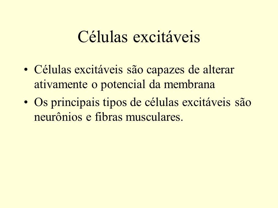 Células excitáveis Células excitáveis são capazes de alterar ativamente o potencial da membrana Os principais tipos de células excitáveis são neurônio