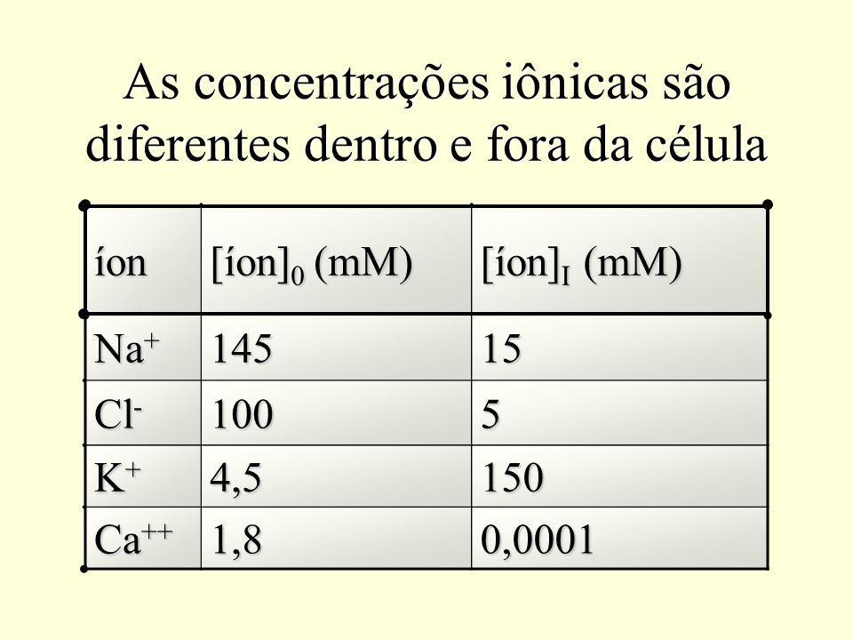 Força eletromotriz (FEM) FEM = E m - E eq FEM Na = E m - E Na = -80 mV - (+60 mV) = -140 mV FEM K = E m - E K = -80 mV - (-94 mV) = +14 mV FEM Cl = E m - E Cl = -80 mV - (-80 mV) = 0 mV Para uma célula com E m = -80 mV FEM Ca = E m - E Ca = -80 mV - (+129 mV) = -209 mV