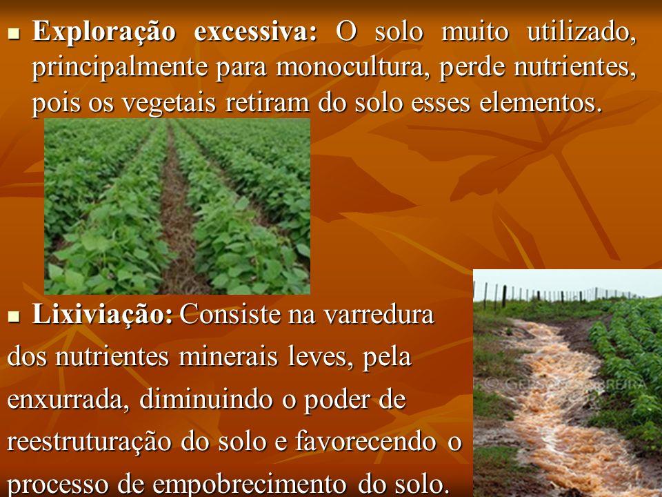 Exploração excessiva: O solo muito utilizado, principalmente para monocultura, perde nutrientes, pois os vegetais retiram do solo esses elementos. Exp