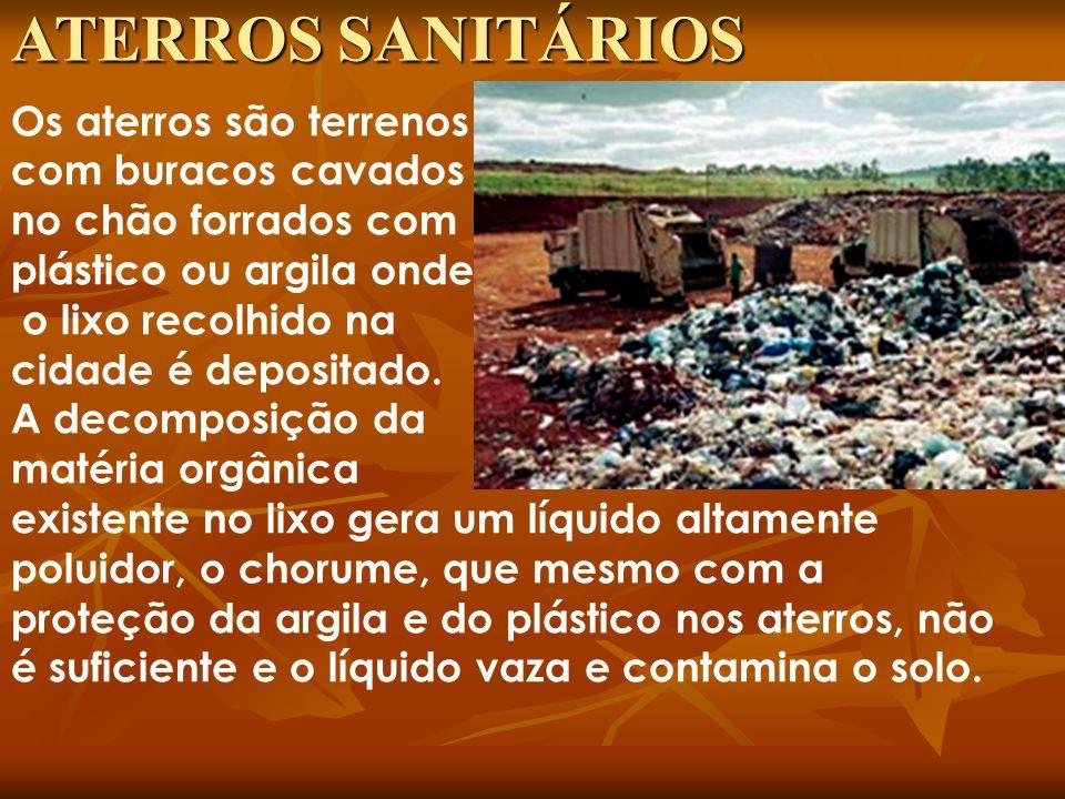 Os aterros são terrenos com buracos cavados no chão forrados com plástico ou argila onde o lixo recolhido na cidade é depositado. A decomposição da ma