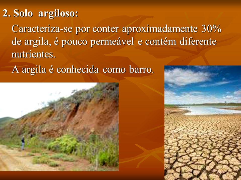 2. Solo argiloso: 2. Solo argiloso: Caracteriza-se por conter aproximadamente 30% de argila, é pouco permeável e contém diferente nutrientes. A argila