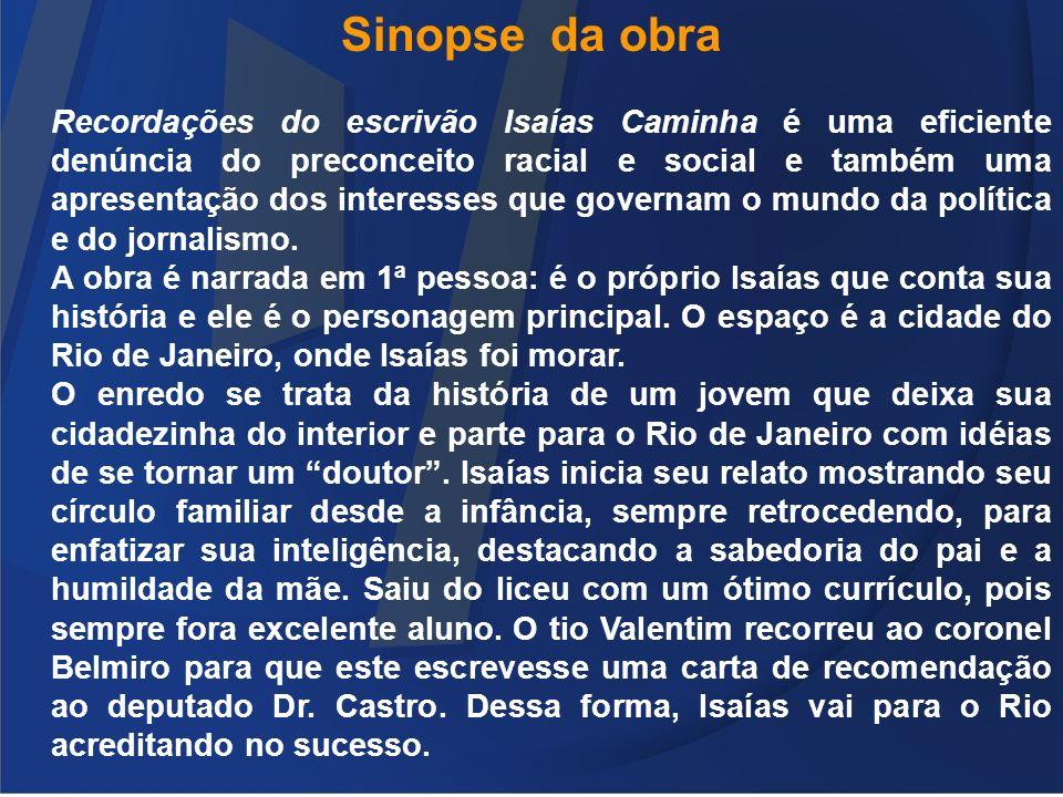 Sinopse da obra Recordações do escrivão Isaías Caminha é uma eficiente denúncia do preconceito racial e social e também uma apresentação dos interesse